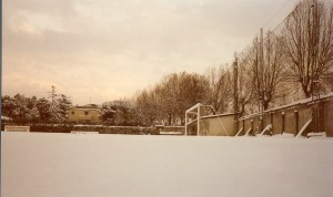 Il campo di Peretola dopo la nevicata del 1985